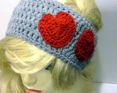 Hearts Headband Earwarmer- Grey and red hearts