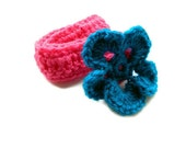 SALE Newborn Flower Headband- crochet flower- baby headband- pink turquoise headband