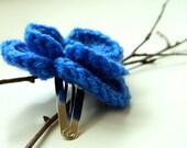 SALE Blue Flower hairclip- crochet flower hairclip