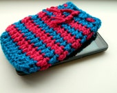 SALE Easter Phone Case- pink turquoise stripes case- phone cozy