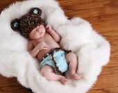 Baby Boy Hat - Newborn Baby Hat & Diaper Cover - Soft Textured Baby Bear Hat and Diaper Cover Fluffy Tail