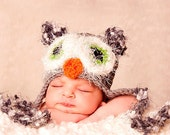 Baby Owl Hat Grey with Green Fuzzy Eyes, Earflaps & Ties - Great Texture and Details