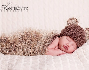 Baby Boy Hat  - Newborn Baby Cocoon and Baby Bear Hat - Amazing Texture - Very Soft and Cozy