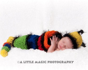 Baby Cocoon & Baby Hat - The Fuzzy Wuzzy Caterpillar - bright and colorful - great details
