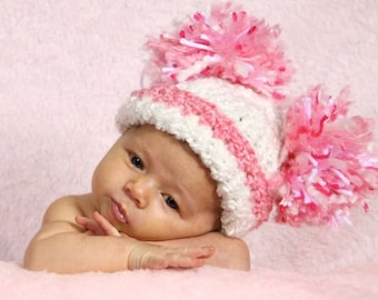 "READY  Baby Girl Hat -  Baby Hat Soft White and Pink with Big Pom Pom""Puffs"" 0-12 Months"