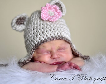 Just Too Cute Baby Hat - Baby Gril Hat - Baby Boy Hat -  Baby Bear Hat Earflaps and Ties with Pink Flower Clip or Knitted Bow Tie.
