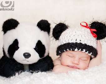 READY Adorable Baby Hat - Baby Panda Bear Hat - Soft Textured Hat with Black Fuzzy Ears & Red Ribbon
