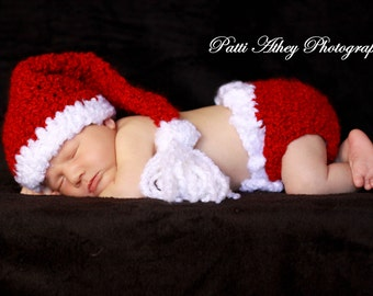 READY Baby Christmas Hat & Diaper Cover -  Baby Girl Hat - Baby Boy Hat -Santa Stocking Hat with Big Fluffy Tassel