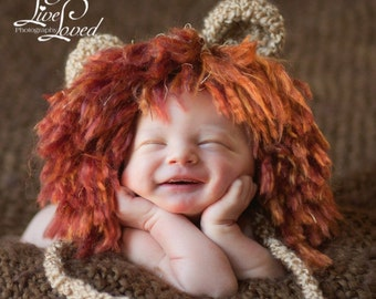 Baby Boy Hat -  Fun Baby Lion Hat with Wild Mane, Earflaps & Ties
