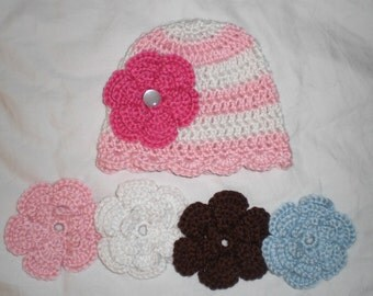 Fun Baby Pink & White Striped Hat Cap with Fancy Trim and 5 Pretty Interchangeable Rose Flowers - Excellent Gift or Photo Prop