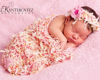 Beautiful Textured Newborn Baby Cocoon and Headband with Flower Clip - Other Colors Available