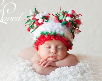 READY Christmas Baby Hat -  Baby Hat -  Baby Christmas Hat - Ho Ho Ho Baby Boy Hat - Baby Girl Hat - Pom Pom Hat