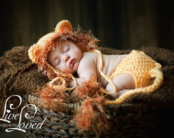 READY Baby Lion Hat - Baby Hat - Baby Halloween Hat -  Baby Lion Hat & Diaper Cover Earflaps, Ties and  Fun Textured Mane