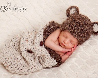 READY Baby Hat - Baby Cocoon & Baby Bear Hat - Textured Mohair Blend Yarn and button detail