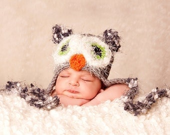 READY Baby Boy Hat - Baby Owl Hat - Baby Girl Hat -Baby Hat  Grey with Green Fuzzy Eyes, Earflaps & Ties - Great Texture and Details