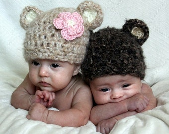 Two Baby Bear Hats - Baby Hats- Made with Soft Mohair Blend Yarn & Flower Clip