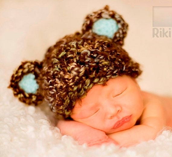 Newborn Baby Soft Textured Teddy Bear Hat Cap Brown with Highlights and Blue Ears