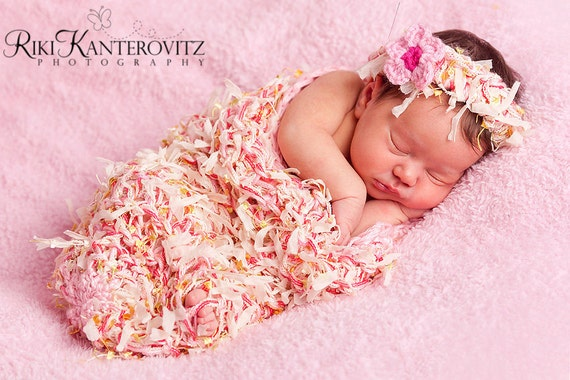 FREE SHIPPING Beautiful Textured Newborn Baby Cocoon and Headband with Flower Clip - Other Colors Available
