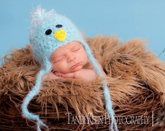 READY TO SHIP Blue Bird Baby Hat Earflaps & Ties- Soooo Soft - Great Texture - Fun Birdie Cap for Spring - Summer
