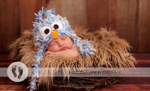 Fun Birdie Baby Hat with Earflaps and Ties- Soooo Soft - Great Texture - Perfect Bird Cap for Spring