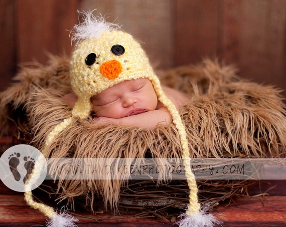 READY TO SHIP Baby Duck Hat - Duckie Hat with Earflaps and Ties