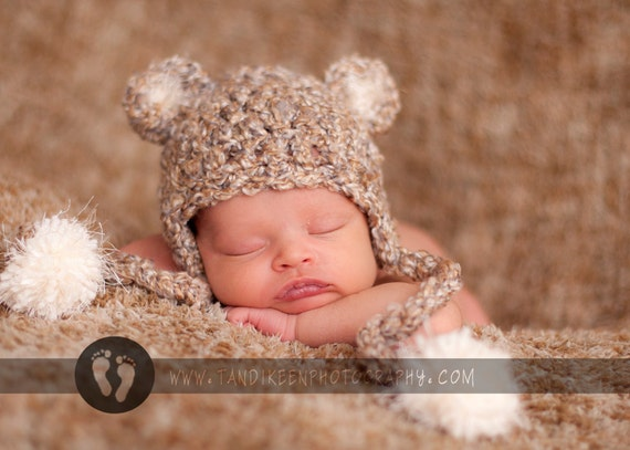 Crochet Chunky Textured Baby Bear Hat - Earflaps & Ties with pom pom's Great Natural Color