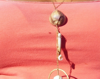 14K Long Gold Shell Necklace