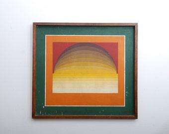 Latin America Optical Art Graphic Design Original Art Oil in Plywood, unsigned