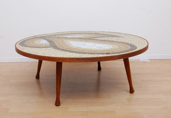Mid Century Modern Murano Tiles Abstract Scultural Walnut Coffee Cocktail Table