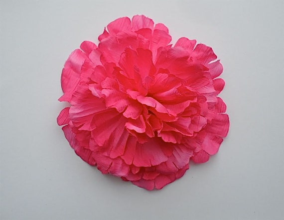 EXTRA LARGE Hair Flower Clip - 7 inch - Huge Hot Pink Pom Posy