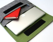 "Case for 13"" Macbook Retina display, MacBook Pro Sleeve Laptop Organizer Case Cover - Gray & Olive Green Weird.Old.Snail"