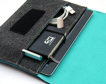iPad Sleeve / iPad Case / iPad Cover / iPad Organizer - Dark Gray & Turquoise  - Weird.Old.Snail