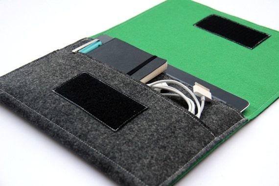 iPad Mini Sleeve, iPad mini Case Cover, iPad mini Organizer, Tablet case, customized tablet sleeve - Dark Gray & Green - Weird.Old.Snail