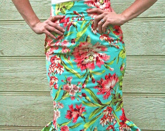Teal and Coral Ruffle Skirt