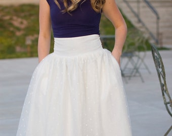 Ivory Polka Dot Tutu Skirt