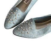 80s Faux Denim Embellished Low Heel Flats in Womens 7