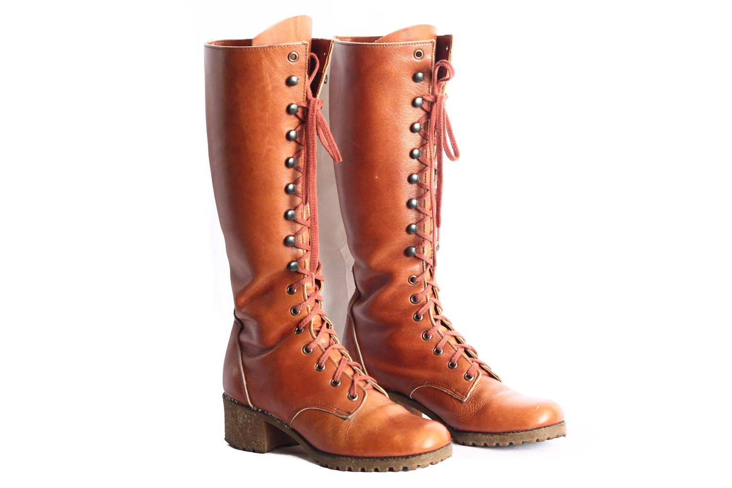 brown lace up combat boots in womens 9