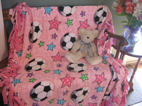 Girl's Soccer Fleece Tie Blanket