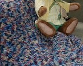Baby Blanket Hand Knitted Reversible in Blues, Pinks and Beige, Handmade by QuiltedCharms on Etsy