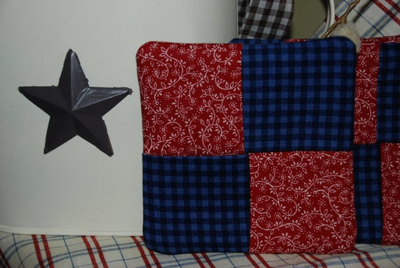 Primitive Coasters, Quilted Set of Four Country Red, White and Blue, Plaid, Handmade by QuiltedCharms on Etsy