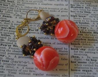 Handmade Orange Swirl Amethyst and Tan Dangle Earrings