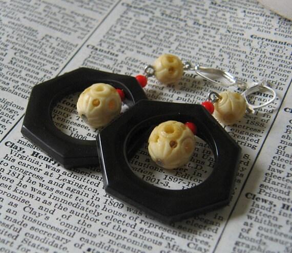Vintage Brown Plastic Hoop and Bone Bead Earrings