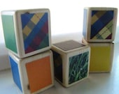 Baby Shower Decor Wood Blocks -Preppy Navy Blue and Brown Plaid Ready to Ship
