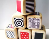 Baby Blocks. Developmental Toy. Red. White. Black. Geometric Prints and Pattern. Wood. Shower Gift