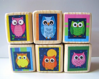 Wooden baby Blocks. colorful.  Owls. Kids toy. Stacking blocks. Unique children's gift.  Baby Shower Decoration