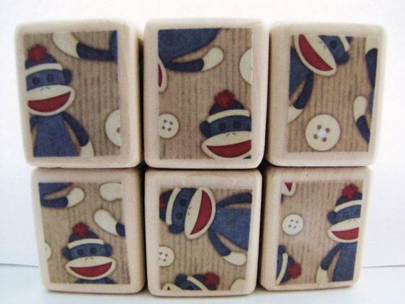 Sale. Sock Monkey.  Baby's first Christmas. Stockig Stuffer. Baby Blocks. Classic Wood Toy. BABY SHOWER DECOR. 1st Birthday.