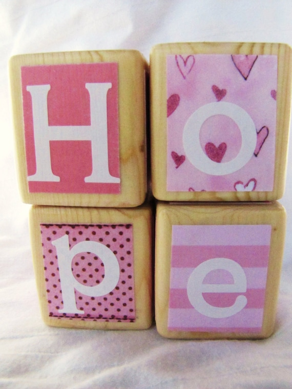 Breast Cancer Awareness HOPE set of 4 pretty Pink Wood Blocks. October SALE