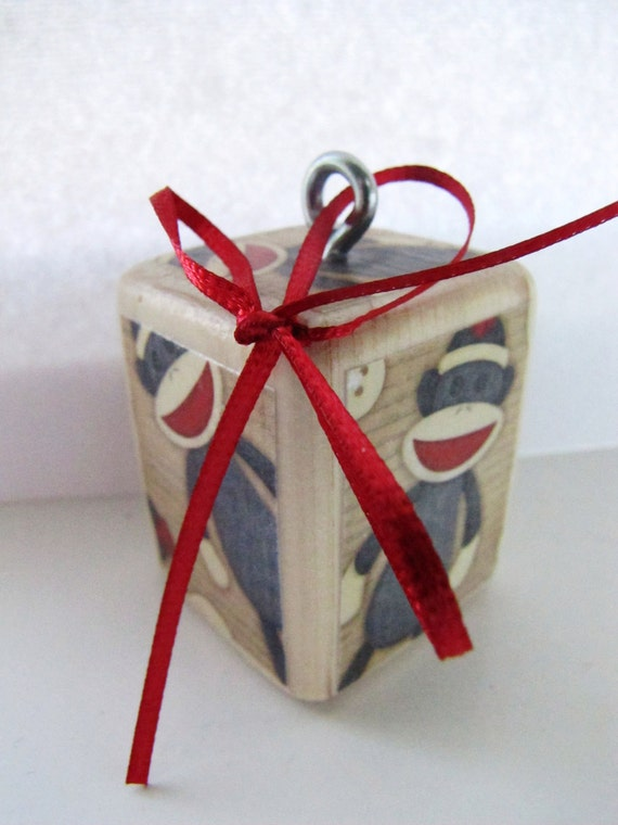 SOCK MONKEY-Personalized ORNAMENT-wood block-You pick the initial