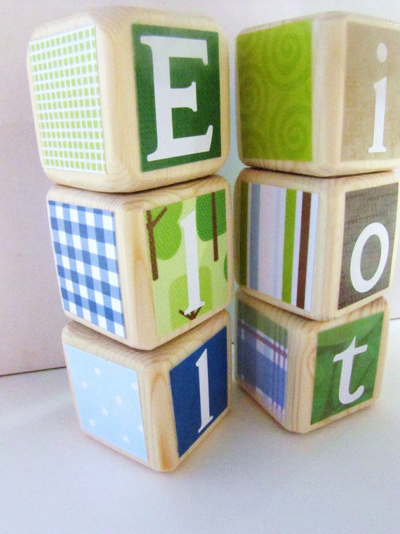 Baby Shower Decoration Nursery Decor. Green Blue. Jill McDonald Adorable Dinos. wood baby blocks. photography prop