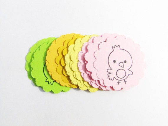 Easter Chick Paper Scallops Assorted pastel colors-